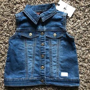 Blue jean toddler girl vest